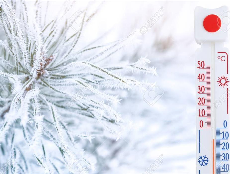 snowflake and below zero thermometer
